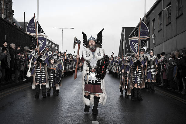 Up Helly Aa Fire Festival in Shetland Isles, Scotland, UK stock photo