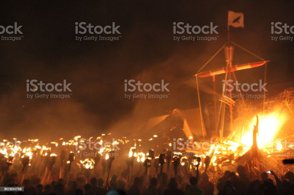 Up Helly Aa - fire festival stock photo