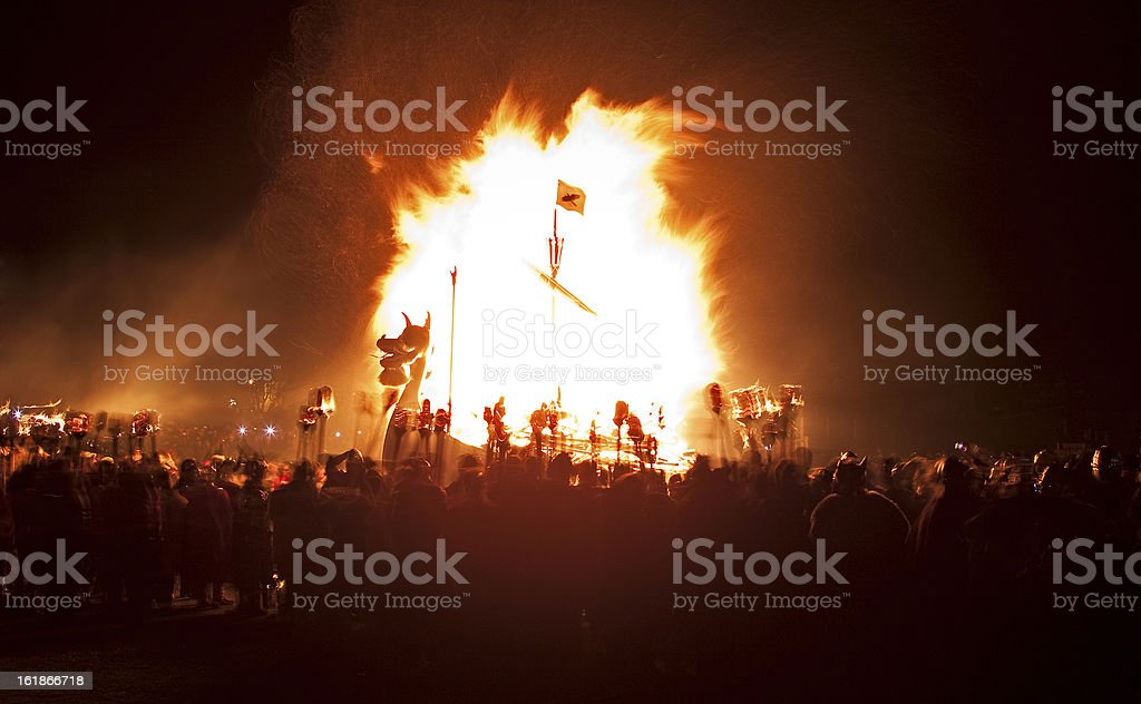 Up Helly Aa Galley Burning stock photo
