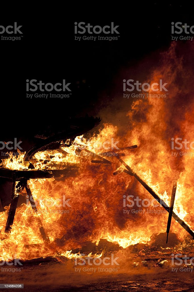 Up Helly Aa Galley Ship Inferno royalty-free stock photo