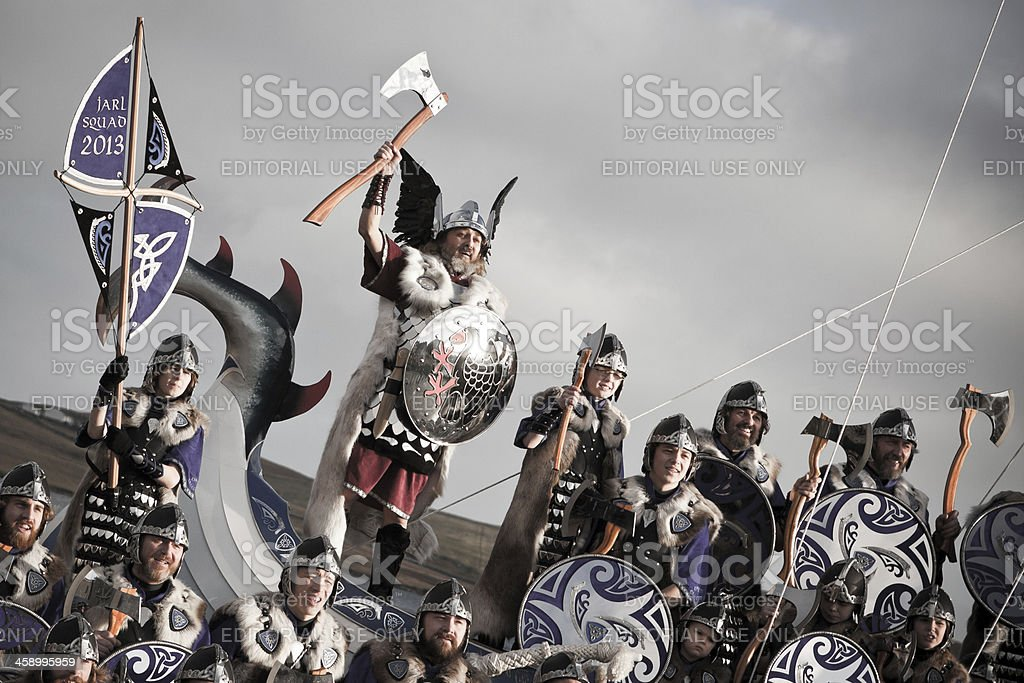 Up Helly Aa Guizer Jarl Aboard Galley Ship stock photo