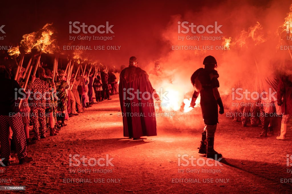 2019 Up Helly Aa Procession Light Up stock photo