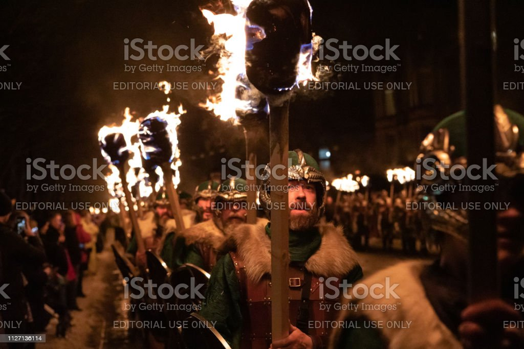 2019 Up Helly Aa Viking Procession stock photo