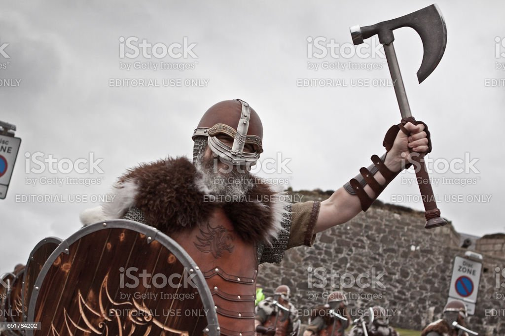 Up Helly Aa Vikings Marching stock photo
