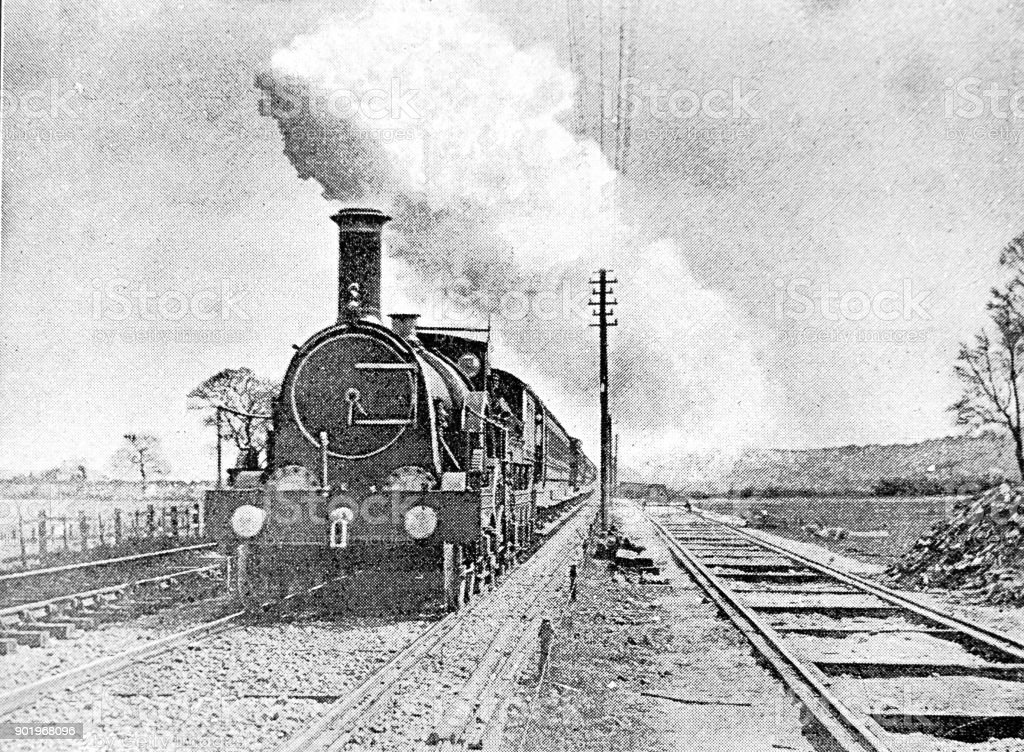 Up Jubilee going through Exminster Steam Train stock photo