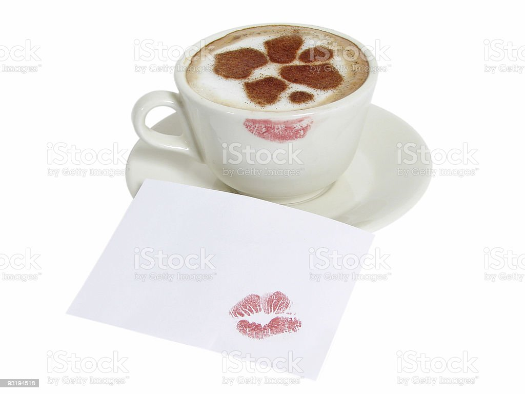 Сup of coffee-cappuccino with cinnamon hearts royalty-free stock photo
