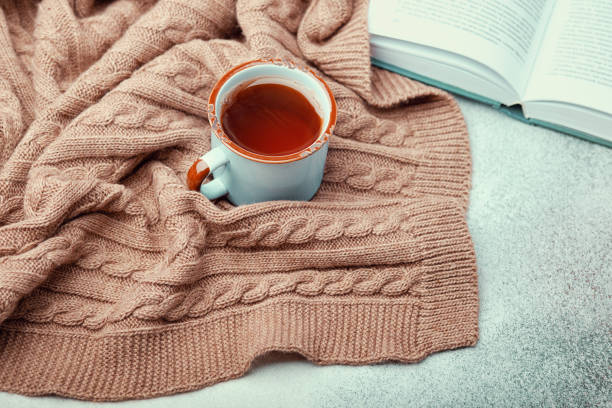 Ð¡up of hot tea, open book and warm knitted blanket stock photo