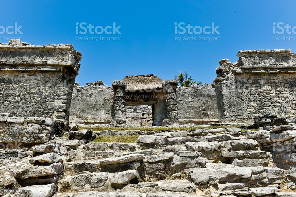 Up of the castle of Tulum remains ストックフォト