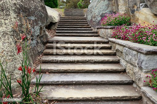 Staircase through a rock cutting in a large garden.