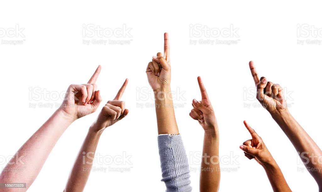 Up there! Six mixed hands all pointing upwards stock photo