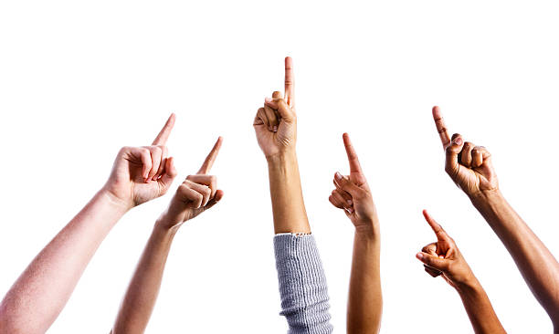 up there! six mixed hands all pointing upwards - finger point stock photos and pictures