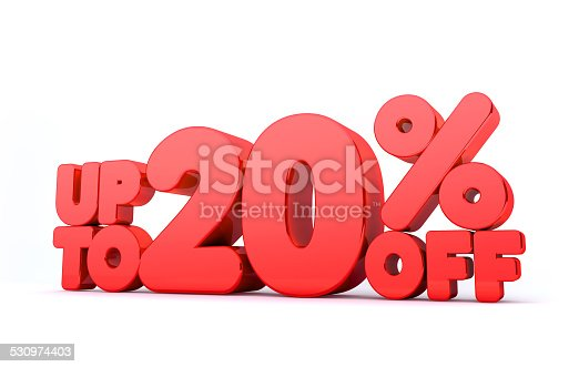 istock Up to 20% Off 3D Render Red Word Isolated 530974403