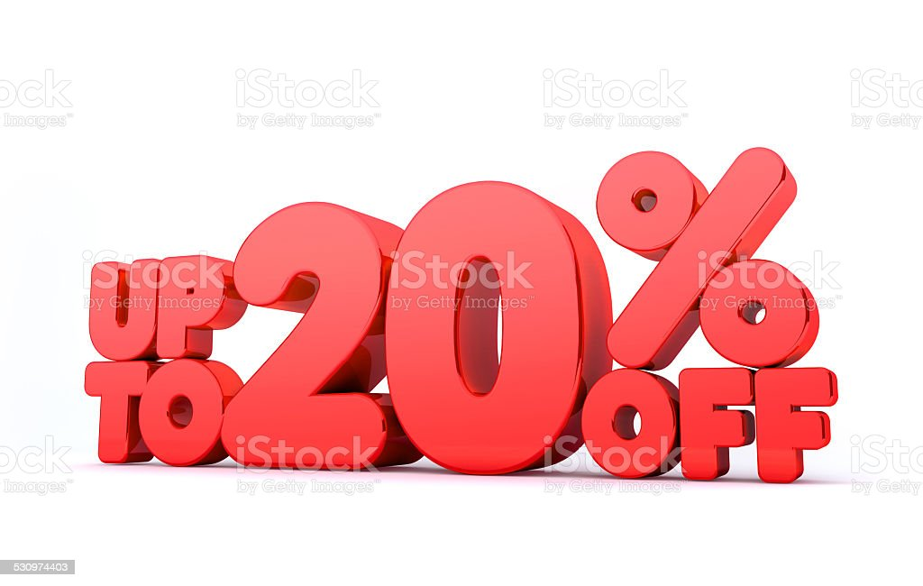 Up to 20% Off 3D Render Red Word Isolated stock photo