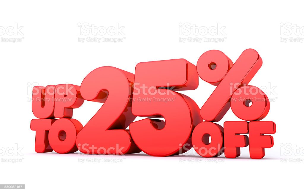 Up to 25% Off 3D Render Red Word Isolated stock photo