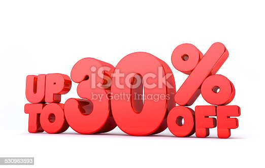 istock Up to 30% Off 3D Render Red Word Isolated 530963893