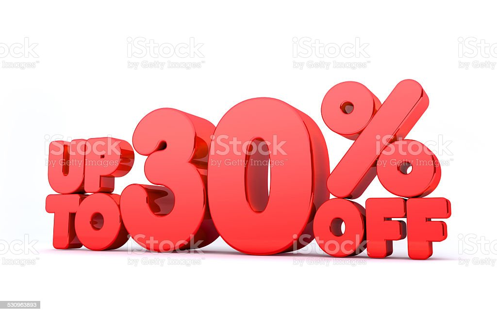 Up to 30% Off 3D Render Red Word Isolated stock photo