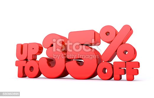 530872967 istock photo Up to 35% Off 3D Render Red Word Isolated 530963895
