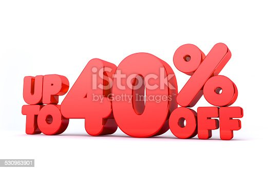530872967 istock photo Up to 40% Off 3D Render Red Word Isolated 530963901