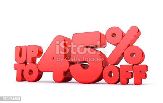 530872967 istock photo Up to 45% Off 3D Render Red Word Isolated 530963899