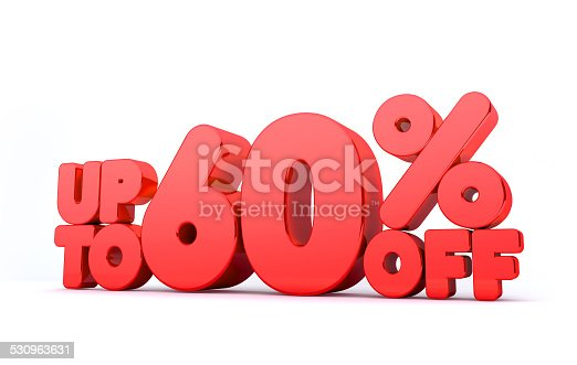 530872967 istock photo Up to 60% Off 3D Render Red Word Isolated 530963631