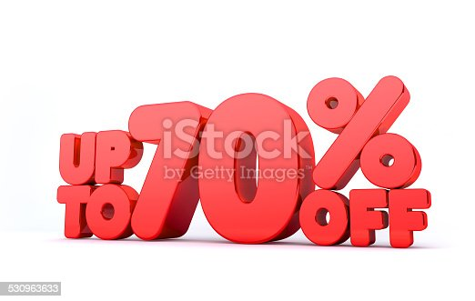 530872967 istock photo Up to 70% Off 3D Render Red Word Isolated 530963633