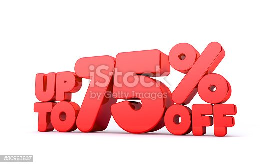 530872967 istock photo Up to 75% Off 3D Render Red Word Isolated 530963637