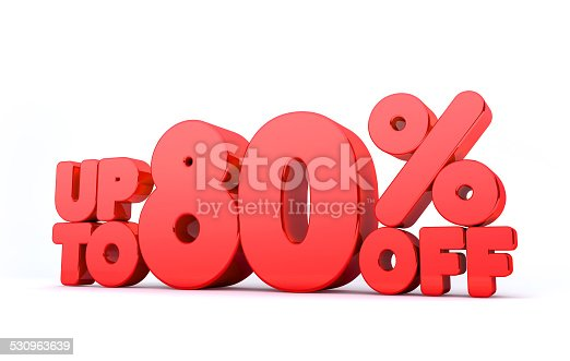 530872967 istock photo Up to 80% Off 3D Render Red Word Isolated 530963639
