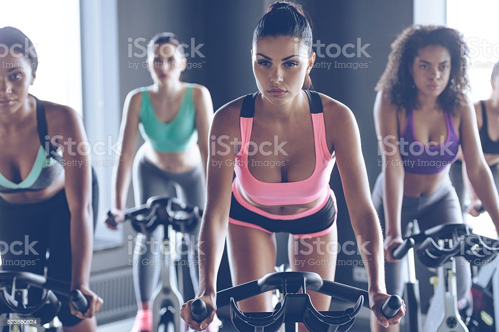 Up to speed with their fitness goals. stock photo