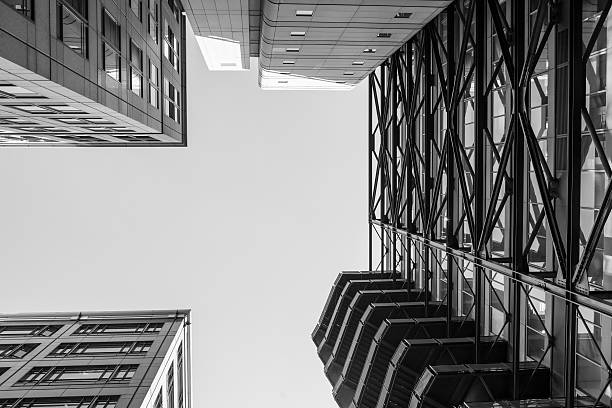 Up view closeup modern office buildings pattern. stock photo