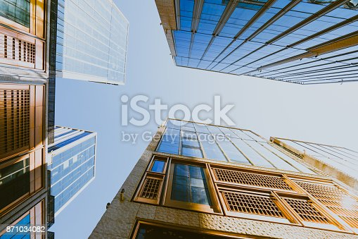 up view in financial district under sun flare shanghai china stock