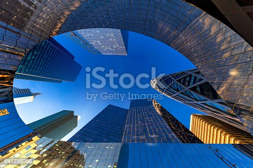 Up view of modern building of La Defense, Business district at the west of Paris, France