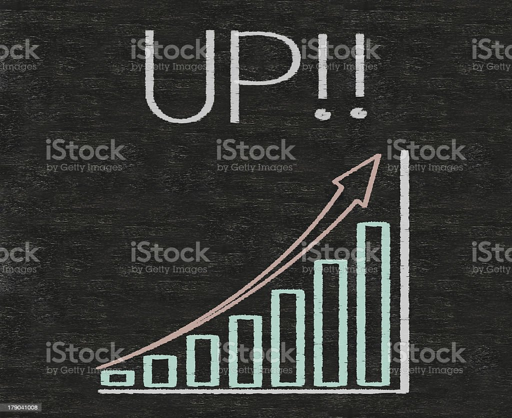 up written on blackboard with chart royalty-free stock photo