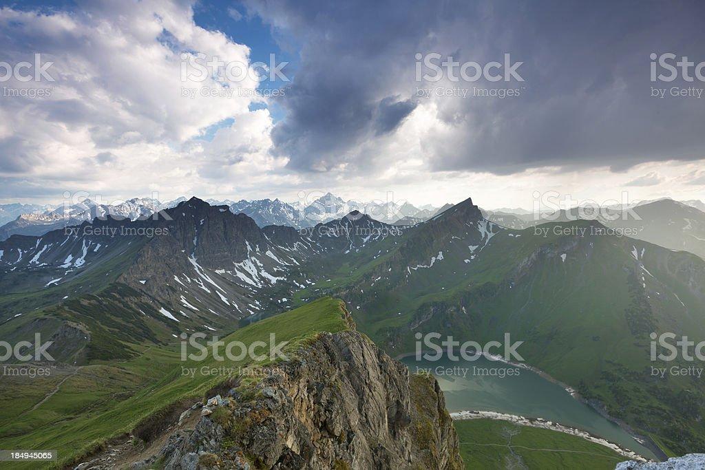 upcoming thunderstorm in the alps, tirol, austria stock photo