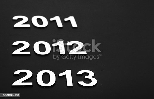 istock Upcoming years 2011, 2012 and 2013 as chrome digits 485886035
