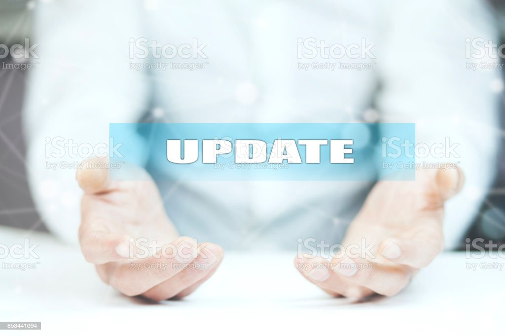 update- business, technology and internet concept stock photo