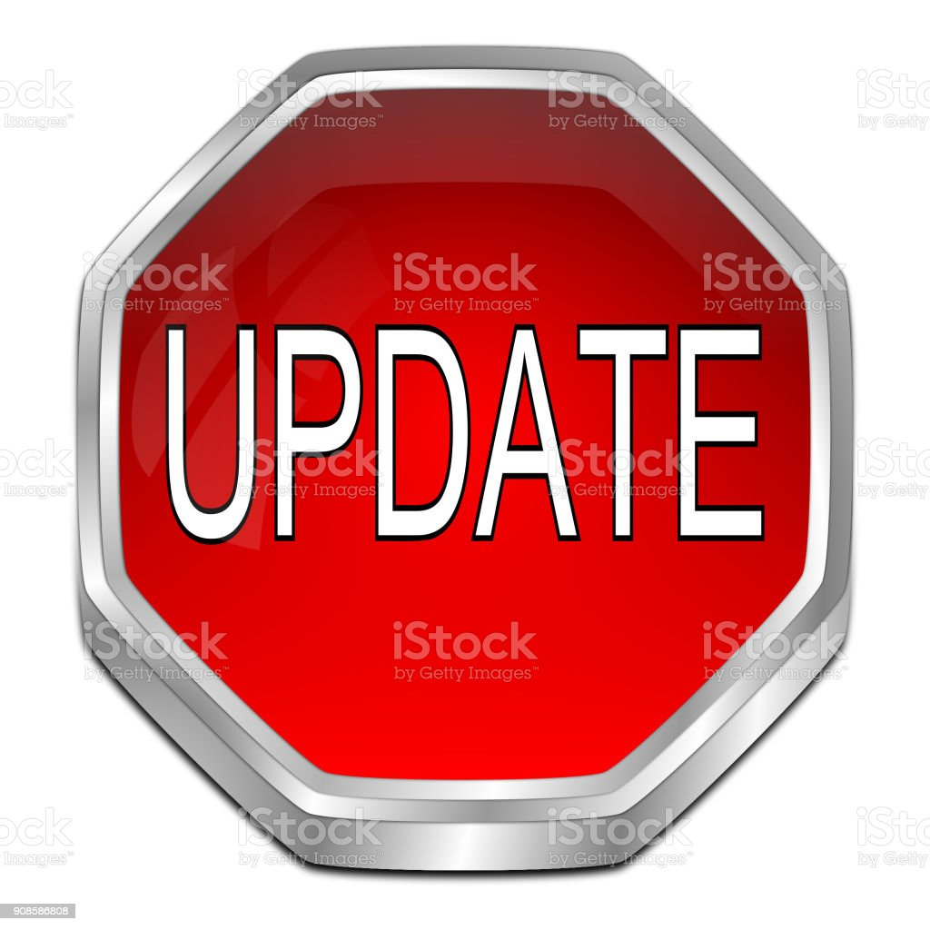 Update Button - 3D illustration stock photo