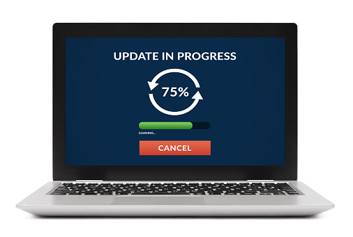 Update concept on laptop computer screen. Isolated on white background. All screen content is designed by me.