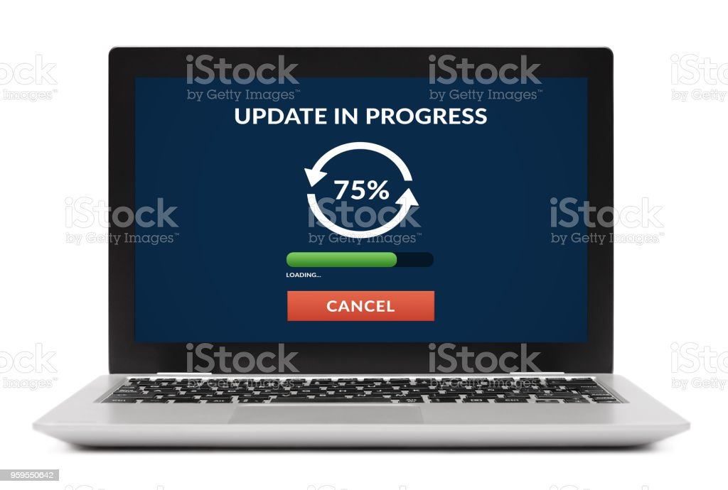 Update concept on laptop computer screen. Isolated stock photo