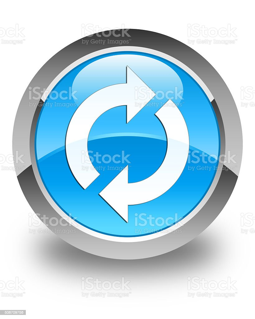 update icon glossy cyan blue round button stock photo