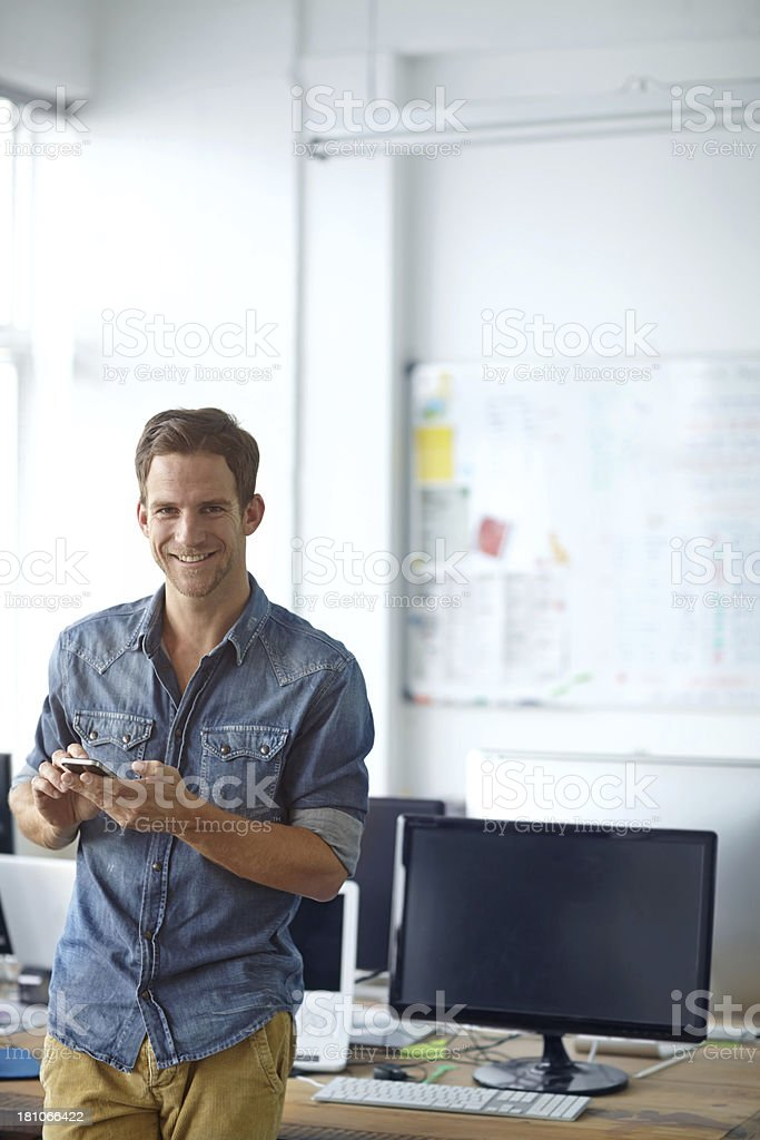 Updating his boss on the day's work schedule royalty-free stock photo