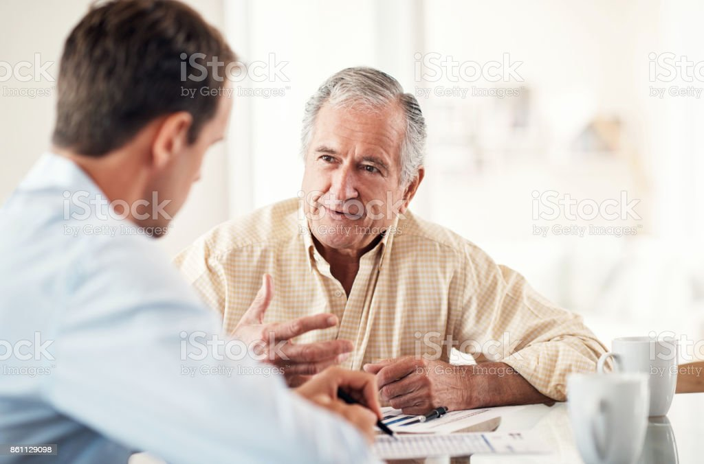 Updating his retirement policy stock photo