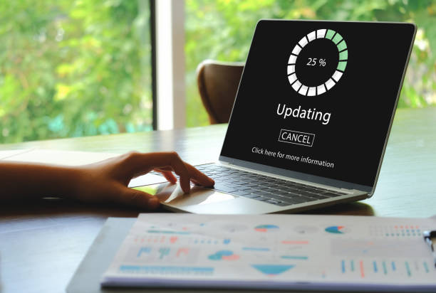 Updating software for a smart device. Updating software for a smart device. HUD of Updating the Operating system and show the process of update. software update stock pictures, royalty-free photos & images