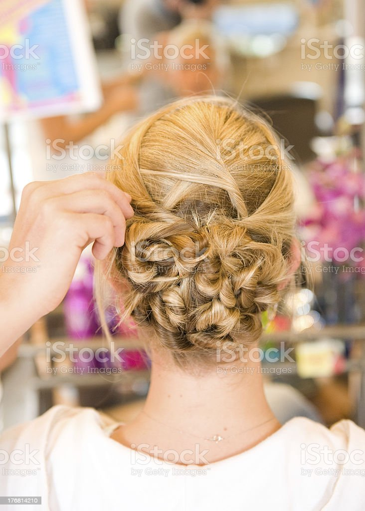 Up-Do: Young Woman Gets a Fancy Hair Do royalty-free stock photo