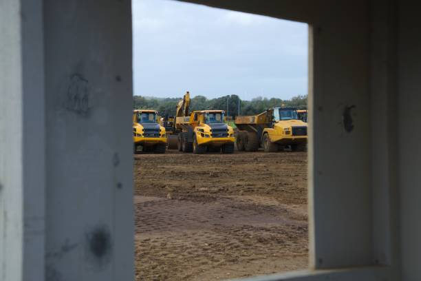 A14 uppgradera uk anläggningsfordon bildbanksfoto