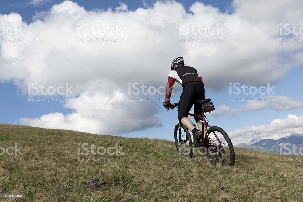 Uphill to the clouds stock photo