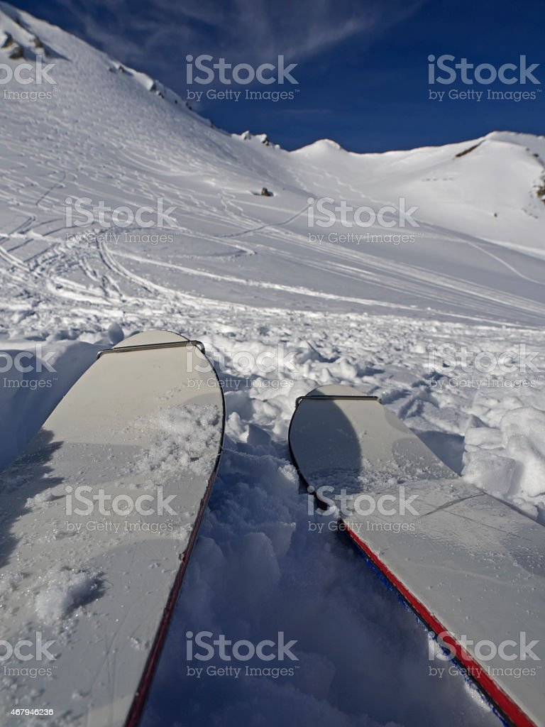 Uphill with skis, bergwärts mit Skis stock photo