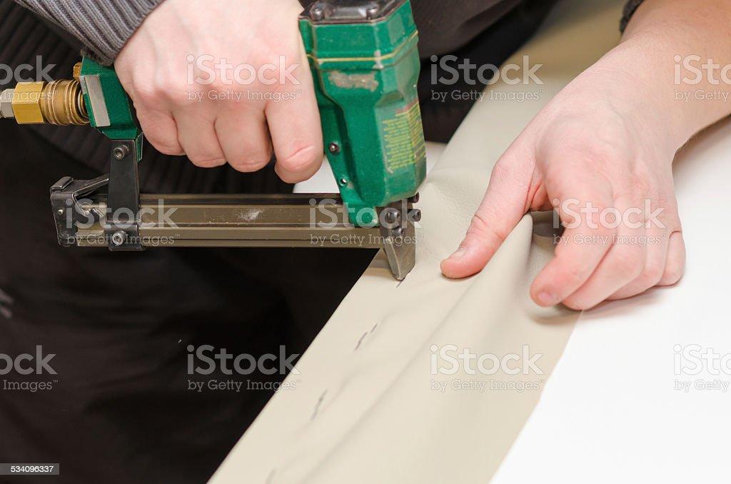 Upholstering stock photo