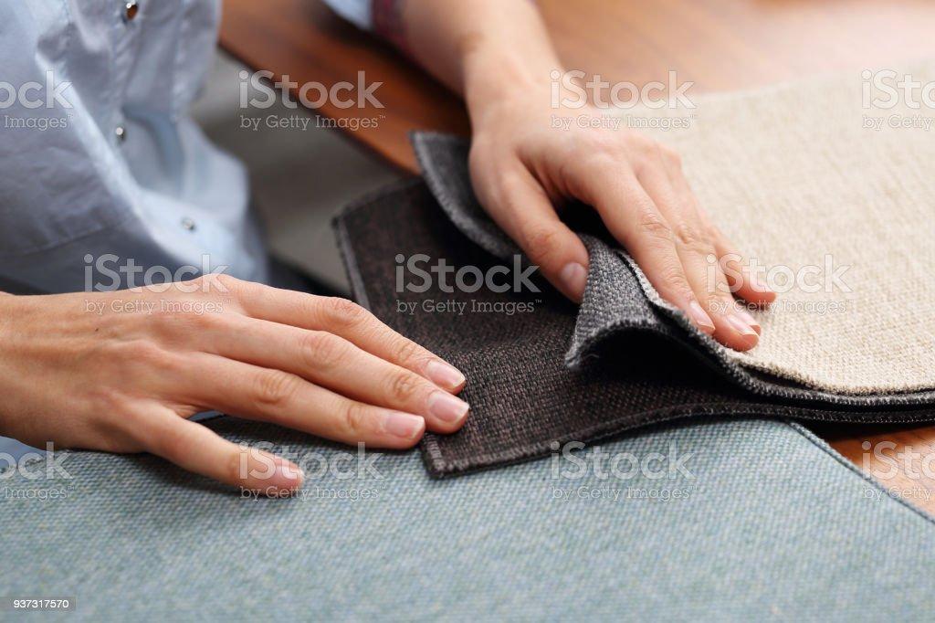 Upholstery fabrics. Sampler of fabric colors. stock photo