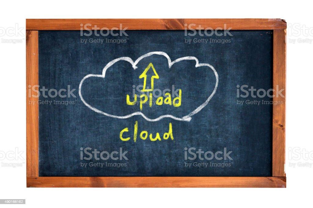 upload cloud on blackboard stock photo