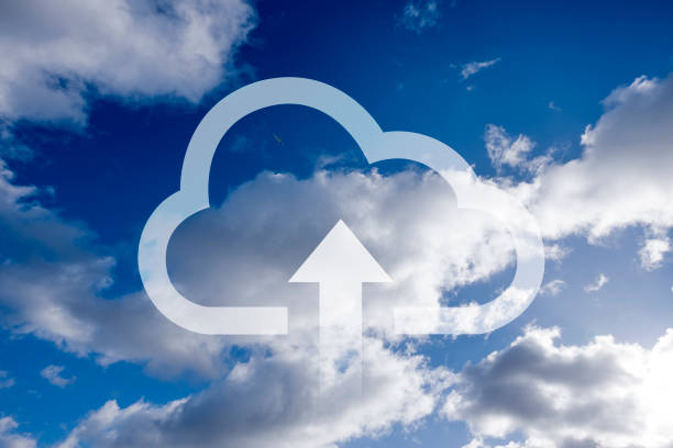 Upload data to the cloud stock photo